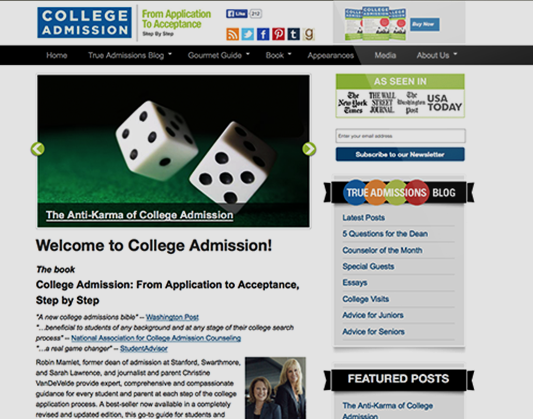 Web Site Design for College Admission Book