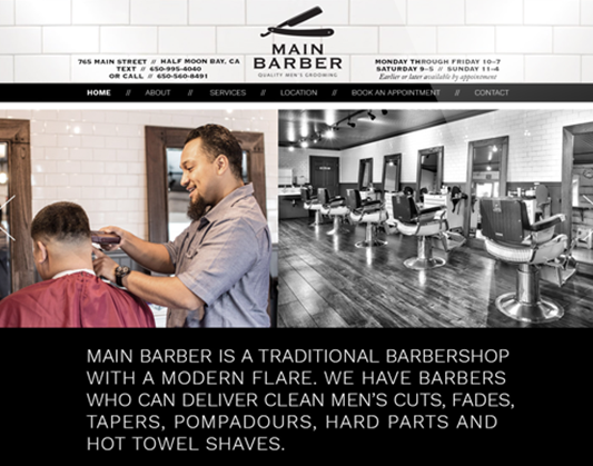 Web Design for Main Barber